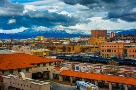 View of distant mountains and Alvarado Transportation Center in Albuquerque, New Mexico.