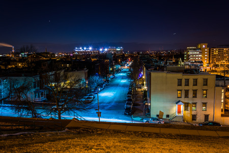 View west from Federal Hill at night, in Baltimore, Maryland. photo