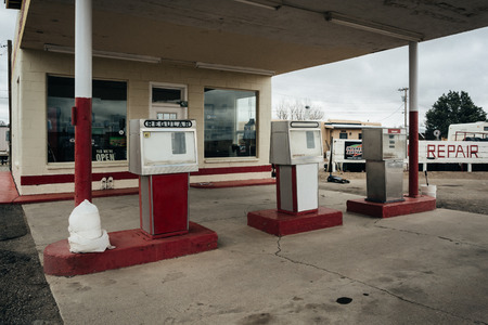 abandoned gas station: Abandoned gas station in Moriarty, New Mexico. Editorial