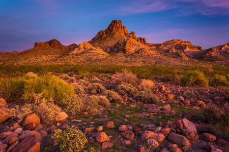 arizona sunset: View of mountains in the desert at sunset near Oatman, Arizona. Stock Photo
