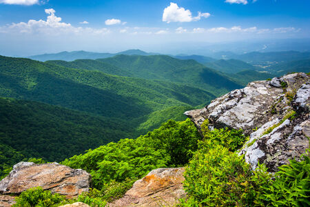 View of the Appalachian Mountains from Craggy Pinnacle, near the Blue Ridge Parkway, North Carolina.