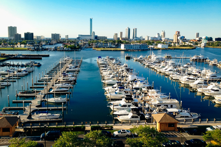 new jersey: View of the skyline and Frank S. Farley State Marina from the Golden Nugget parking garage in Atlantic City, New Jersey.