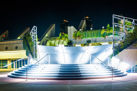 Large staircase at the Convention Center at night, in San Diego, California.
