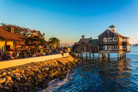 Evening light at Seaport Village, in San Diego, California.