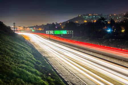 mesa: Long exposure of California Route 125 at night, in La Mesa, California. Stock Photo