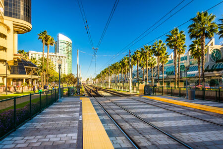 Railroad tracks near the Convention Center, in San Diego, California.