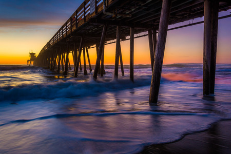 The fishing pier seen after sunset in Imperial Beach, California.