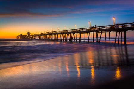 The fishing pier seen after sunset, in Imperial Beach, California.