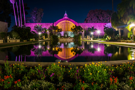 The Botanical Building and Lily Pond at night, in Balboa Park, San Diego, California. Editorial