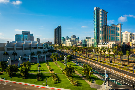 san diego: View of Harbor Drive in San Diego, California. Stock Photo
