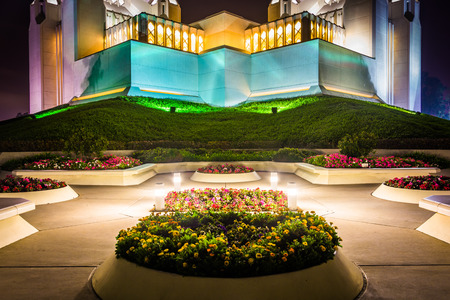 lds: The Church of Jesus Christ of Latter-Day Saints Temple at night in San Diego, California. Stock Photo