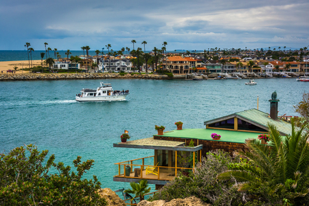 newport: House on a cliff and view of Newport Beach from Corona del Mar, California. Editorial