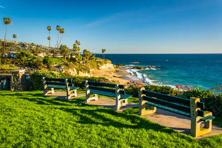 laguna: Benches and view of the Pacific Ocean at Heisler Park, in Laguna Beach, California. Stock Photo