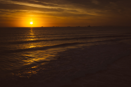 huntington beach: Sunset over the Pacific Ocean in Huntington Beach, California. Stock Photo