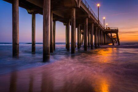 huntington beach: The pier at twilight, in Huntington Beach, California. Stock Photo