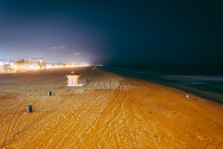 huntington beach: View of the beach at night, in Huntington Beach, California.