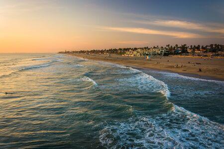 huntington beach: View of the beach at sunset, in Huntington Beach, California. Stock Photo