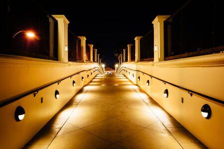 huntington beach: Walkway at night, in Huntington Beach, California. Stock Photo
