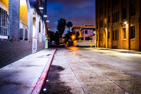 venice: A dark street at night, in Venice Beach, Los Angeles, California. Stock Photo