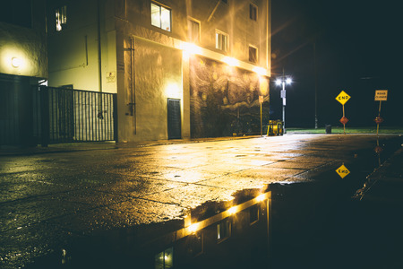 gritty: A dark street at night, in Venice Beach, Los Angeles, California. Stock Photo