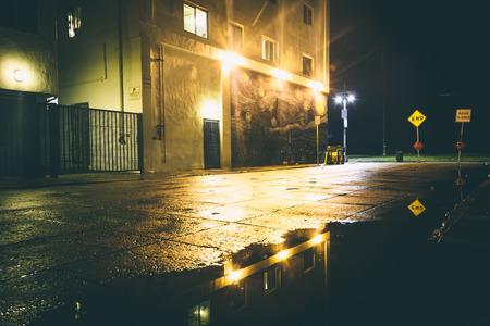 los angeles county: A dark street at night, in Venice Beach, Los Angeles, California. Stock Photo