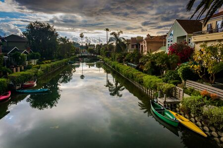 venice: Houses along a canal in Venice Beach, Los Angeles, California.