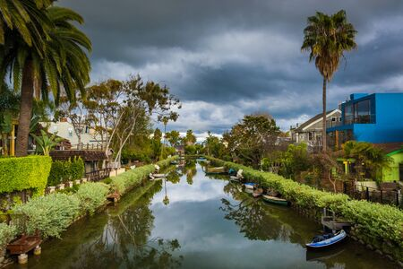 venice: Houses and boats along a canal in Venice Beach, Los Angeles, California.