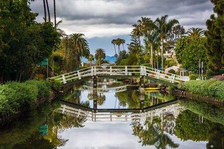 venice: Houses and bridge along a canal in Venice Beach, Los Angeles, California.