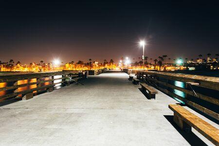balboa: The Balboa Pier at night, in Newport Beach, California.