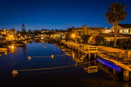 balboa: The Grand Canal at night, on Balboa Island, in Newport Beach, California.