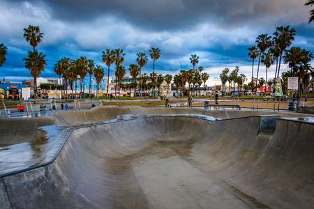 venice: The Venice Skate Park at sunset, in Venice Beach, Los Angeles, California.