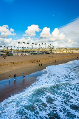 balboa: Waves in the Pacific Ocean and view of the beach from Balboa Pier in Newport Beach, California