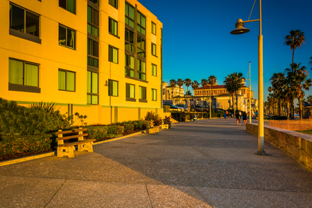 oceanfront: Evening light on the Oceanfront Walk, in Santa Monica, California.