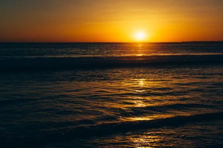 monica: Sunset over the Pacific Ocean, in Santa Monica, California.