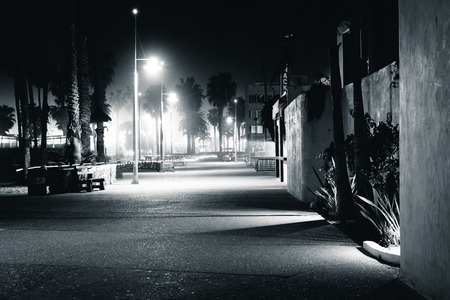 oceanfront: The Oceanfront Walk at night, in Santa Monica, California. Stock Photo