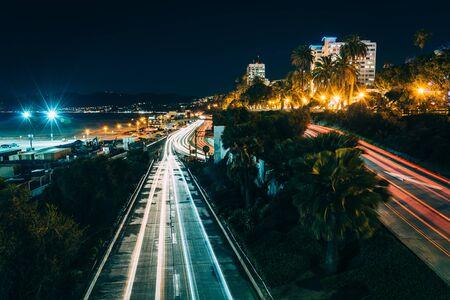 santa monica: Traffic on Pacific Coast Highway at night, in Santa Monica, California.