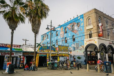 Businesses along Windward Avenue in Venice Beach, Los Angeles, California. Editorial
