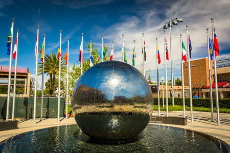 chapman: Reflecting sphere and flags at Chapman University, in Orange, California.