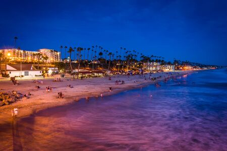 oceanside: The beach at night, seen from the pier in Oceanside, California.