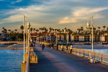 california: The Belmont Pier in Long Beach, California. Stock Photo