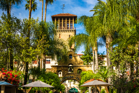 The exterior of the Mission Inn, in Riverside, California.