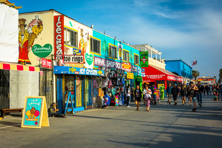 The Venice Boardwalk, in Venice Beach, Los Angeles, California.