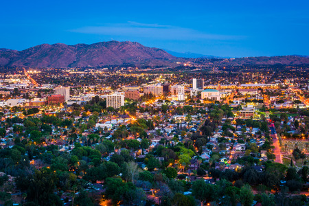 riverside landscape: Twilight view of the city of Riverside, from Mount Rubidoux Park, in Riverside, California. Stock Photo