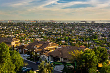 overlook: View from Hilltop Park, in Signal Hill, Long Beach, California. Stock Photo
