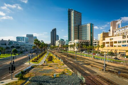san diego: View of Harbor Drive and railroad tracks in San Diego, California.