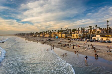 california: View of the beach from the pier in Oceanside, California.