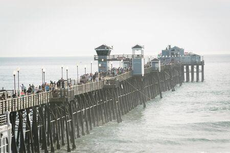 oceanside: View of the pier in Oceanside, California. Stock Photo