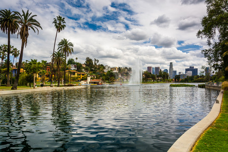 Echo Park Lake, in Los Angeles, California.