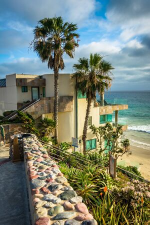 oceanfront: Oceanfront house and view of the Pacific Ocean at Cleo Street Beach, in Laguna Beach, California.
