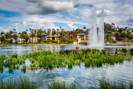 echo: Grasses and a fountain in Echo Park Lake, in Los Angeles, California.